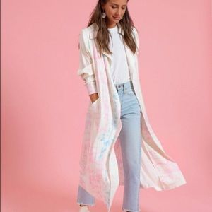 Something Navy Satin Cotton Candy Trench Coat